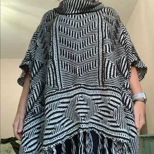 Black and White Sweater Poncho